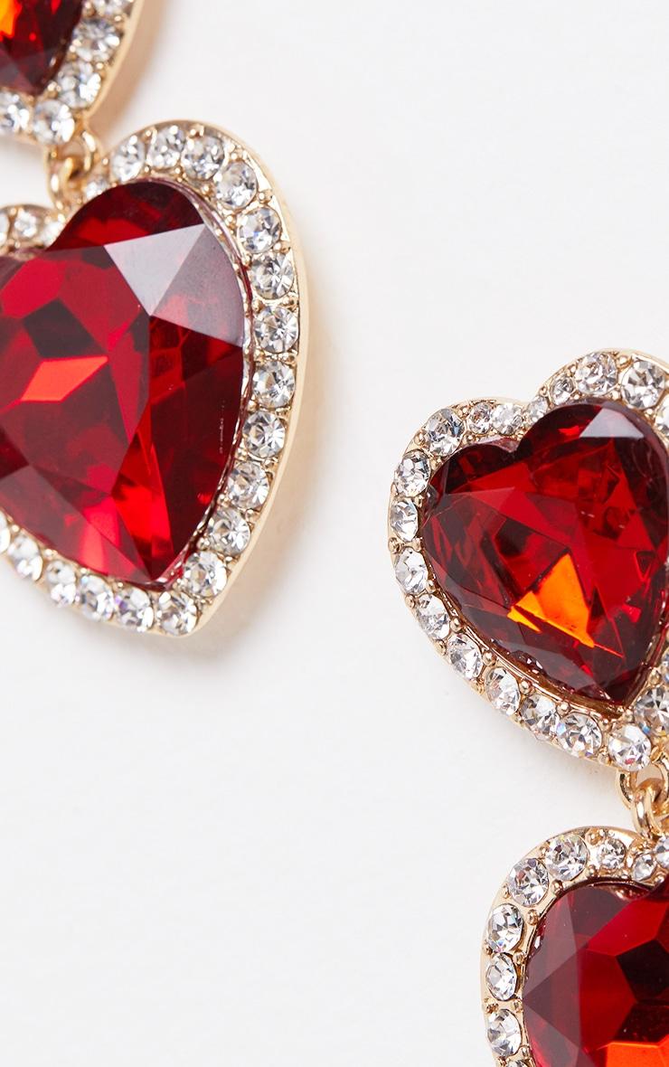 Red Heart Gemstone Statement Earrings 4