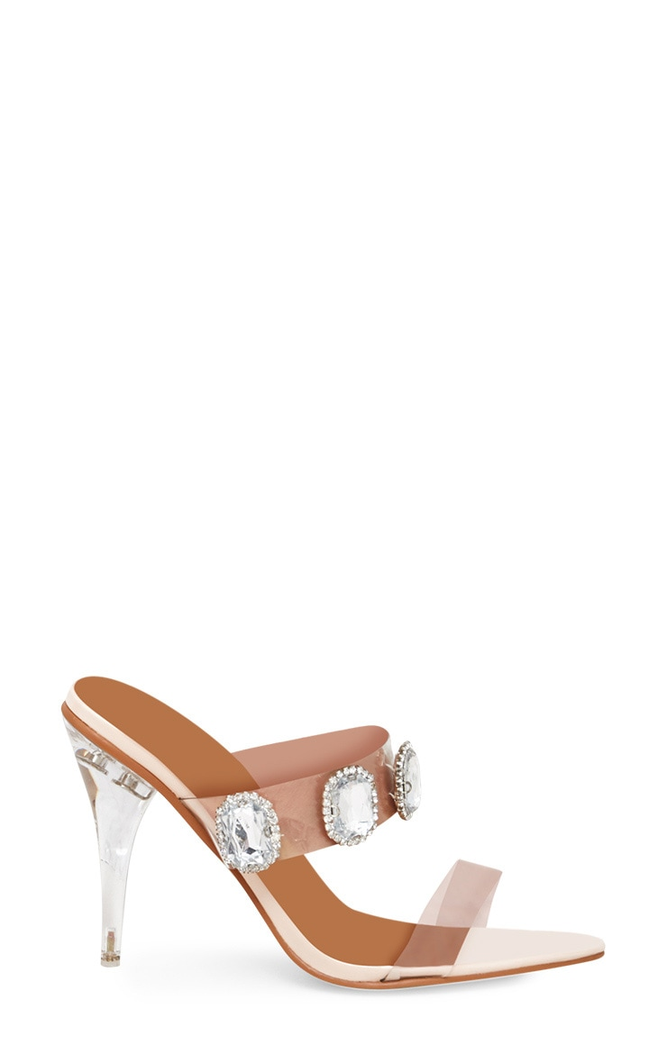Nude Jewelled Clear Heeled Mules 3