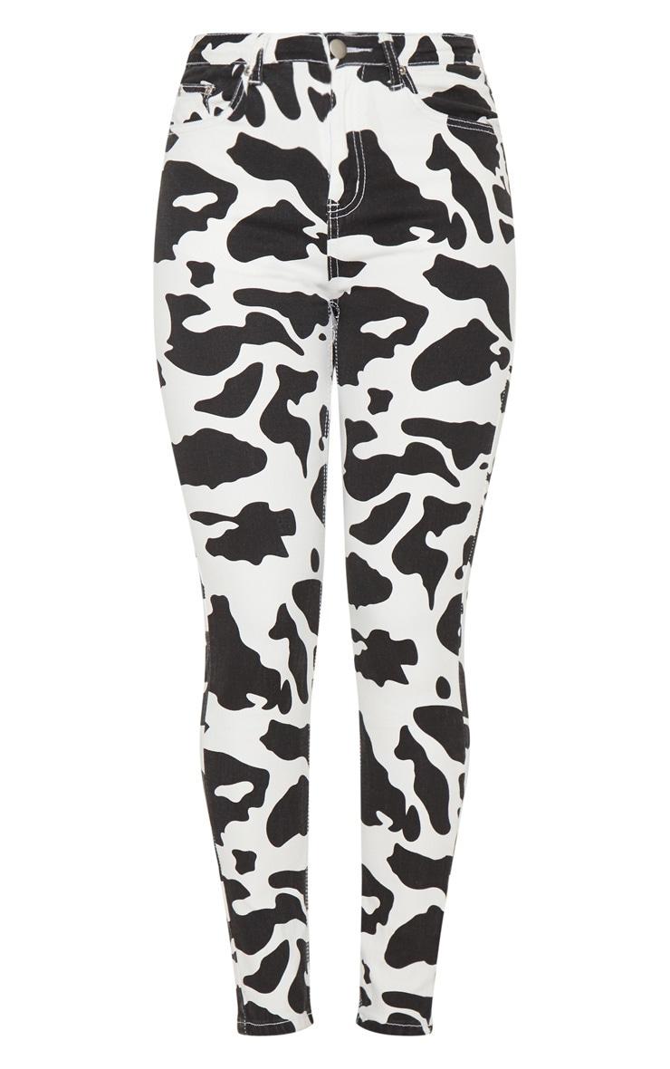 Cow Print 5 Pocket Skinny Jean 3