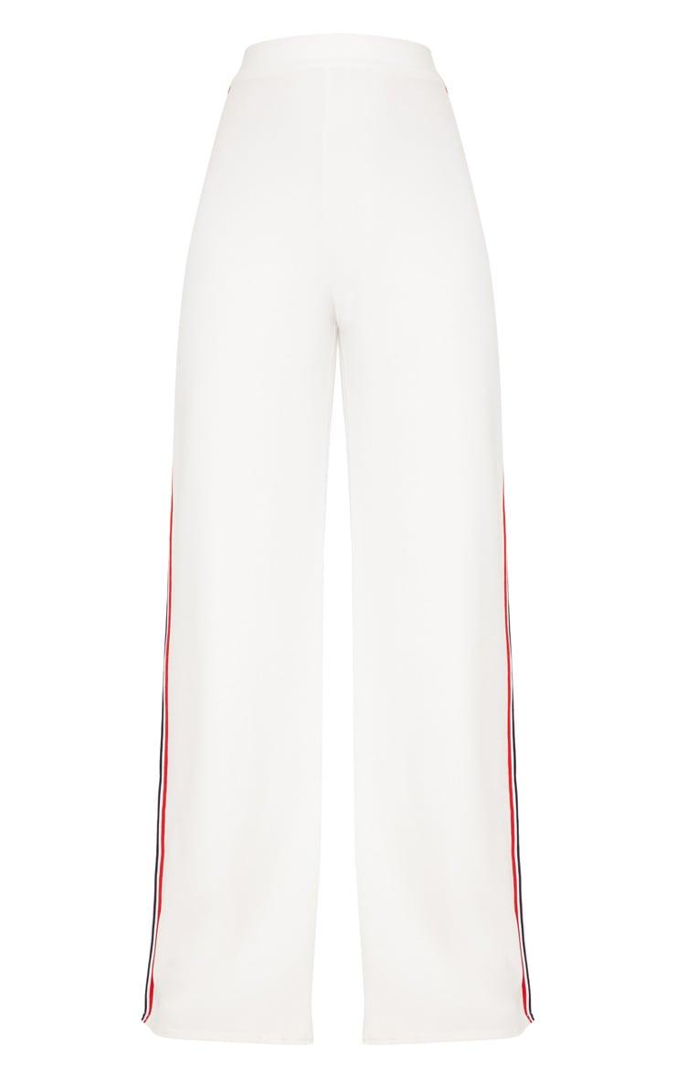 White Tape Wide Leg Trouser  3