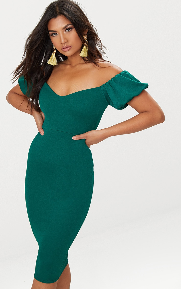 Emerald Green Balloon Sleeve Bardot Midi Dress 1