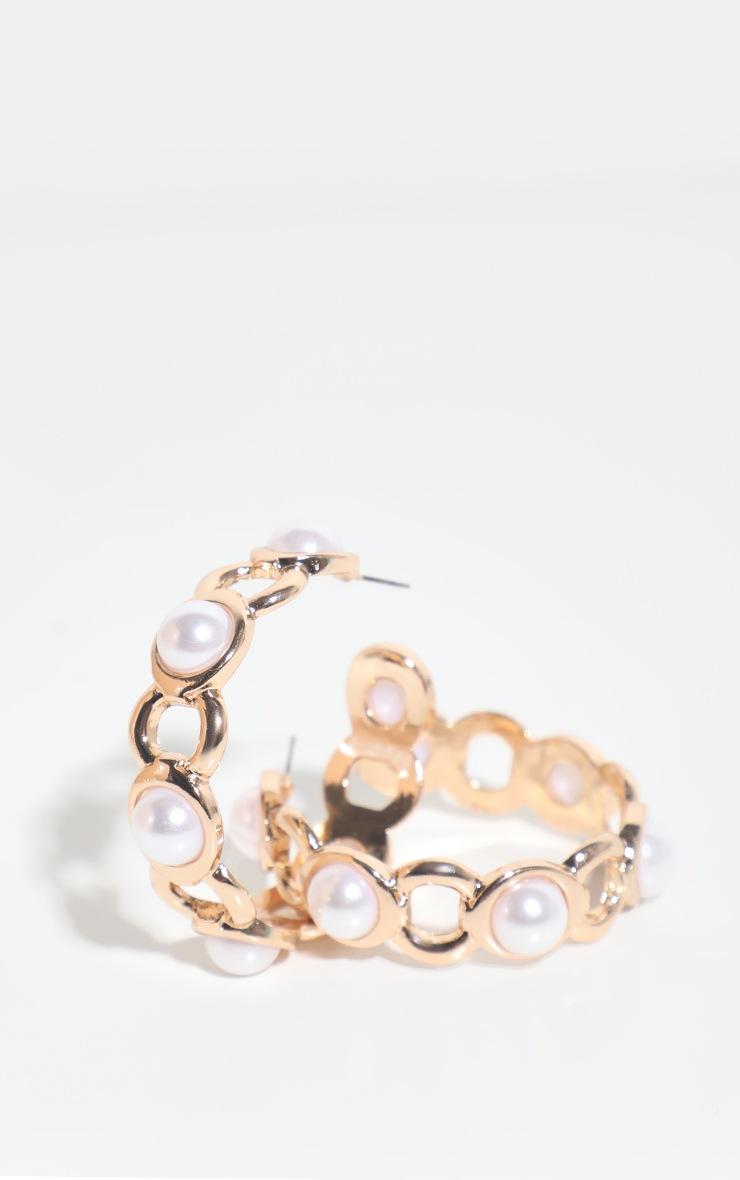 Gold Chunky Pearl Chain Hoop Earring 3