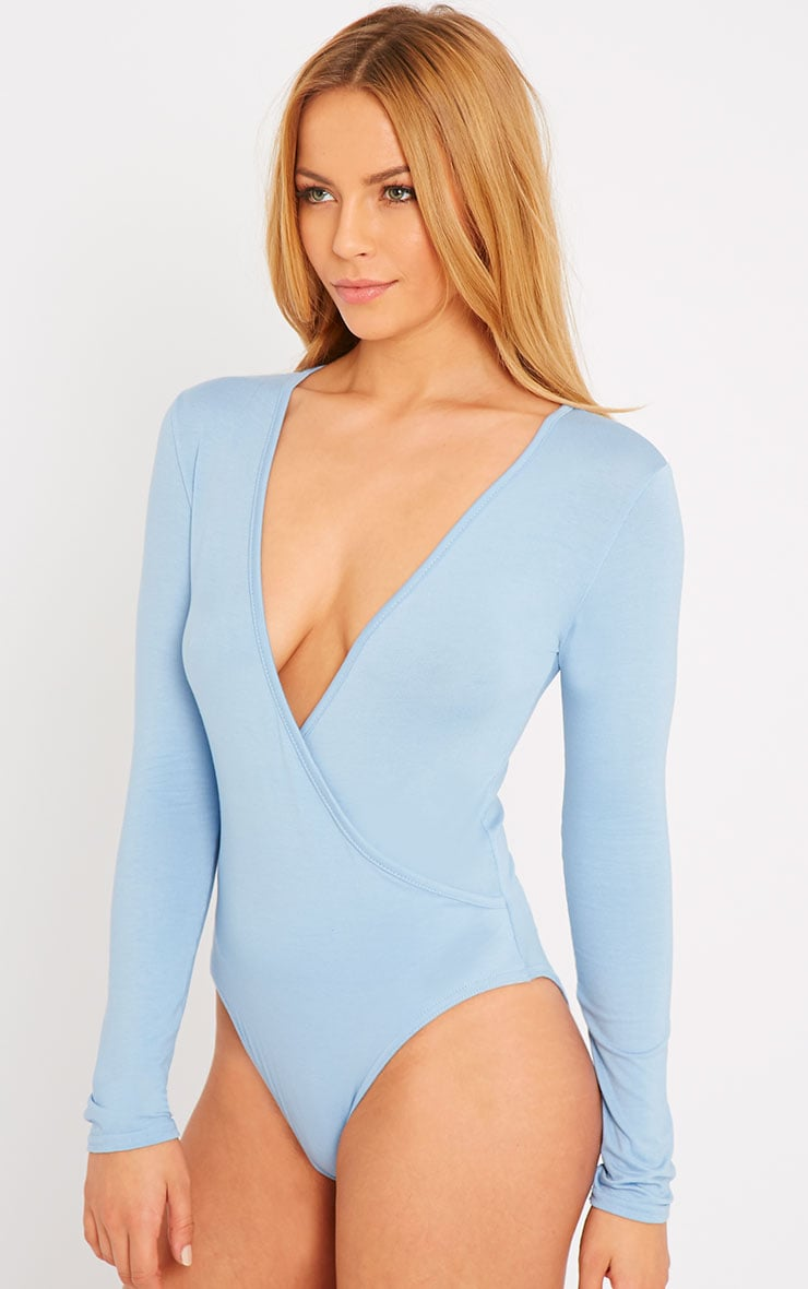 Freida Powder Blue Wrap Over Plunge Bodysuit 1