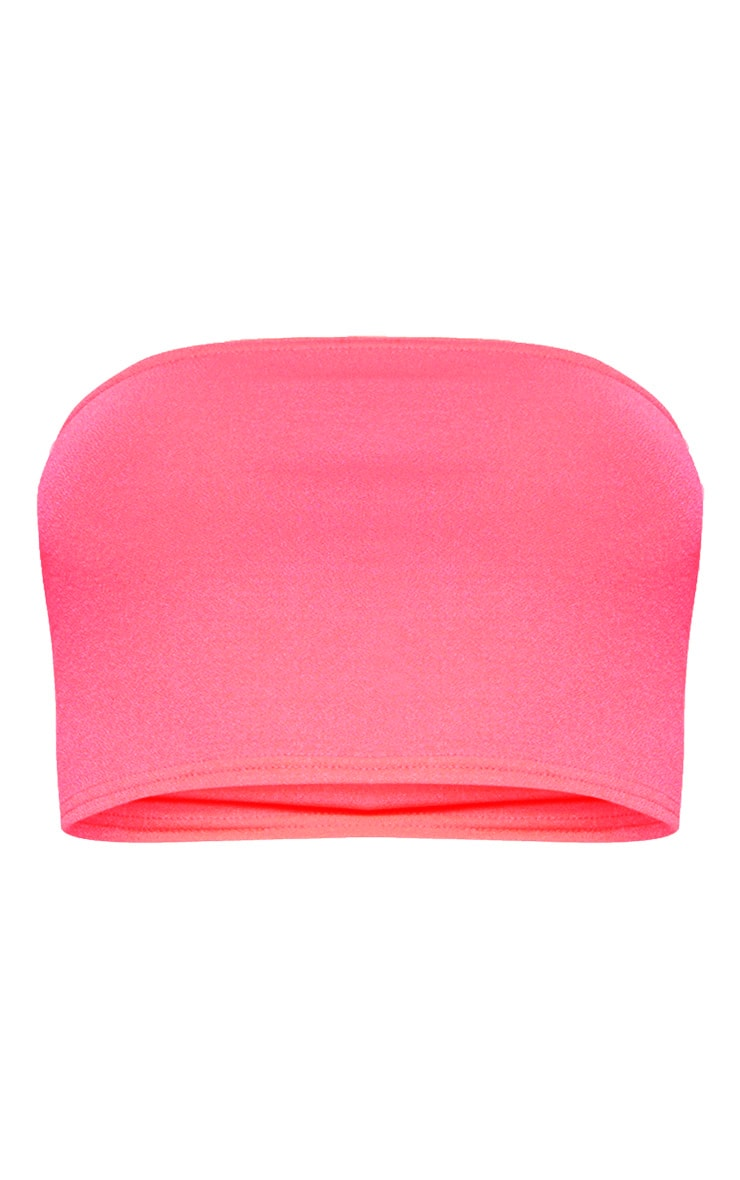 Neon Pink Bandeau Crop Top 3
