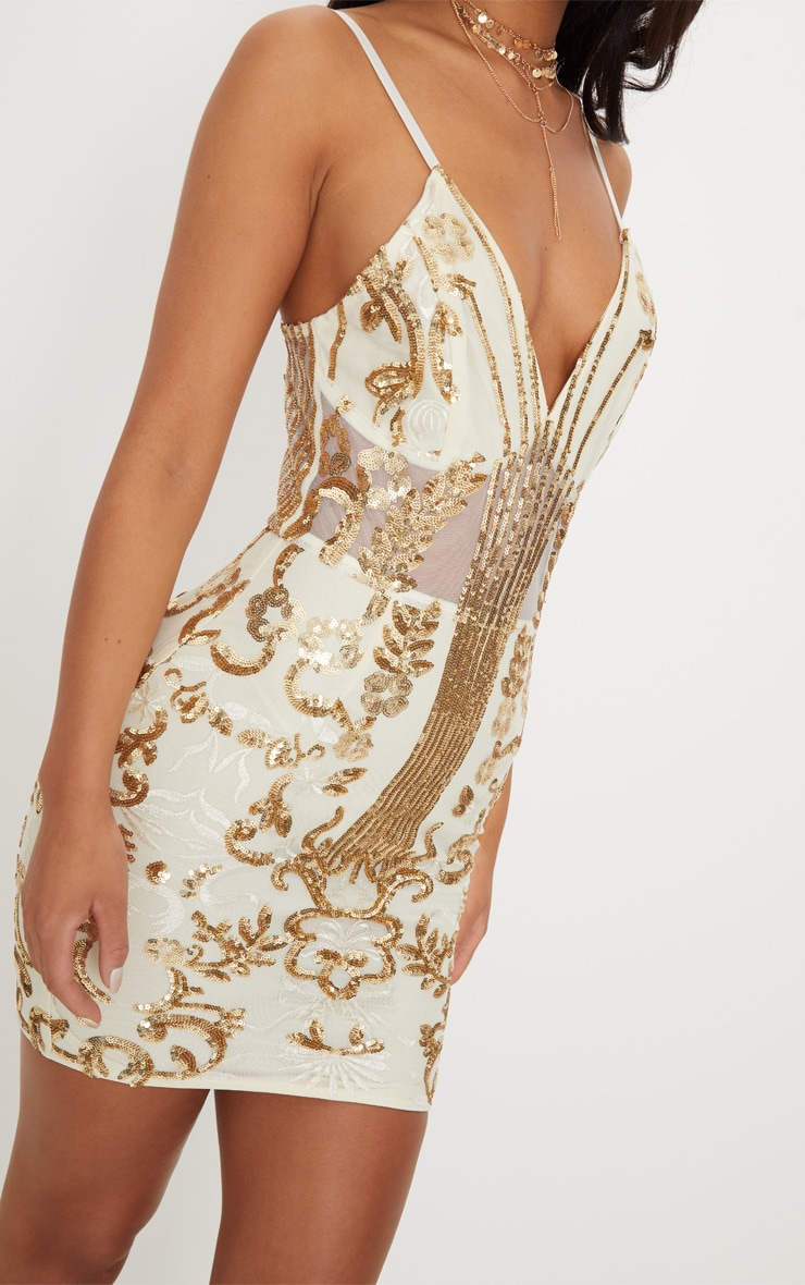 Gold Sheer Strappy Panel Sequin Bodycon Dress 5