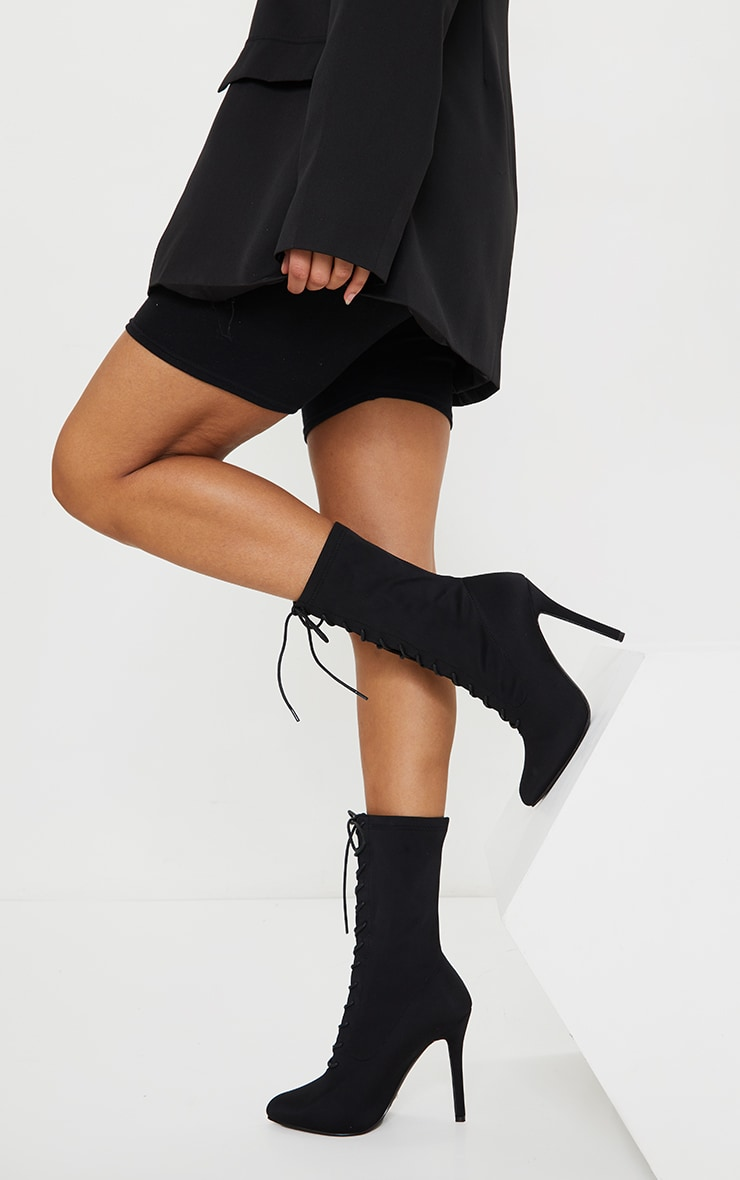 Black Lace Up Front Sock Boots 2