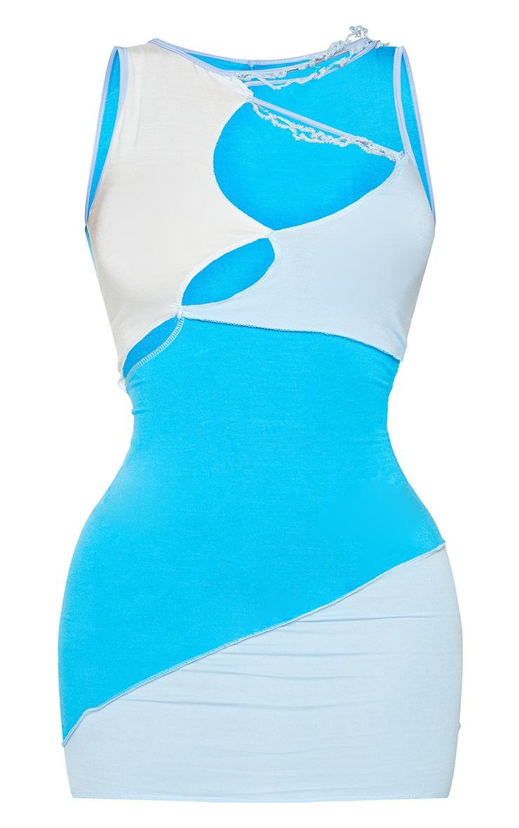 Shape Blue Panel Overlock Seam Detail Sleeveless Bodycon Dress 5