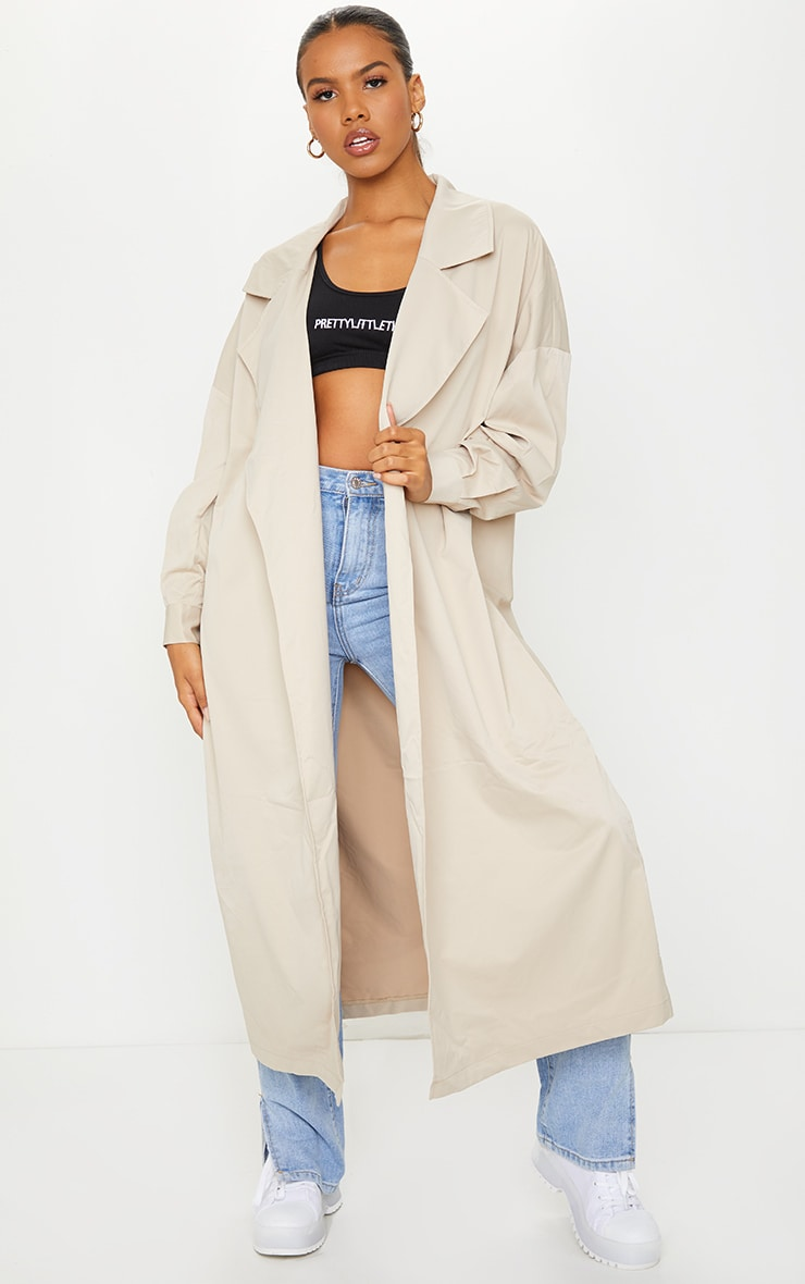 PRETTYLITTLETHING Stone Contrast Panel Trench Coat 2