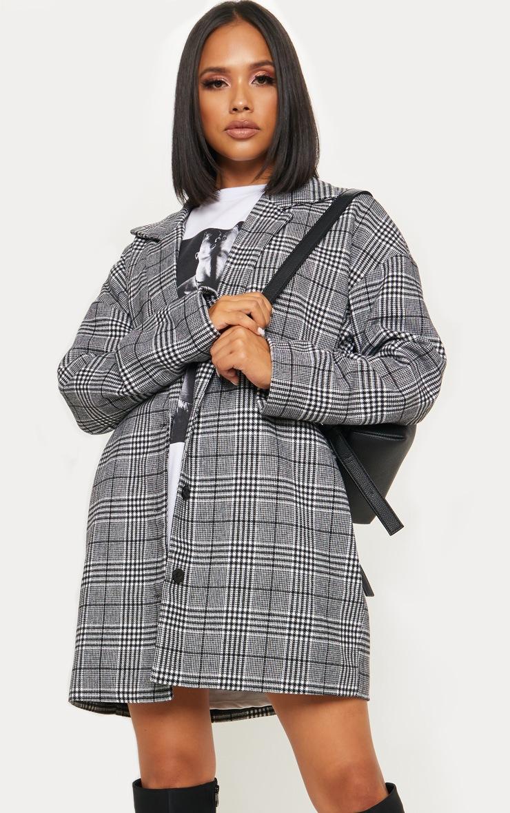 Veste en laine à carreaux noirs 4