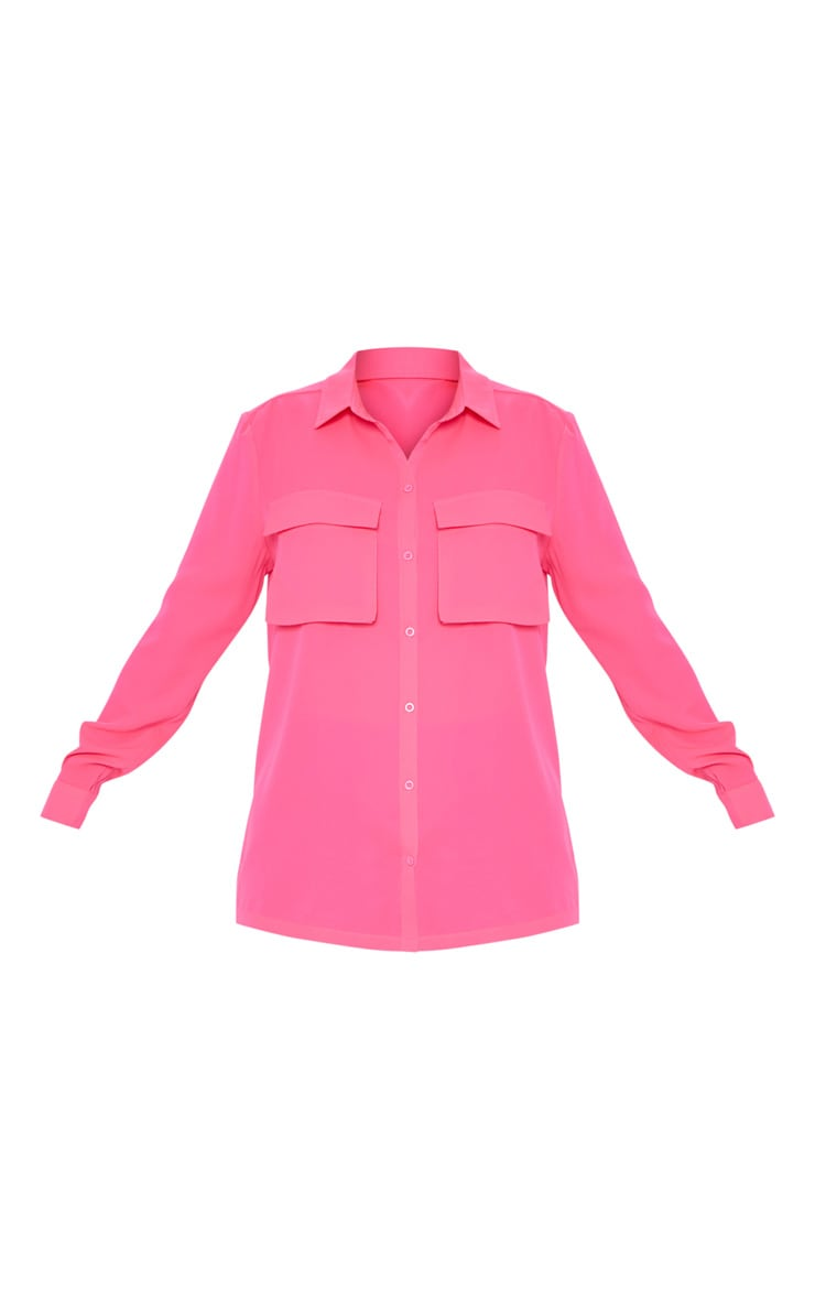 Hot Pink Oversized Chiffon Shirt 3