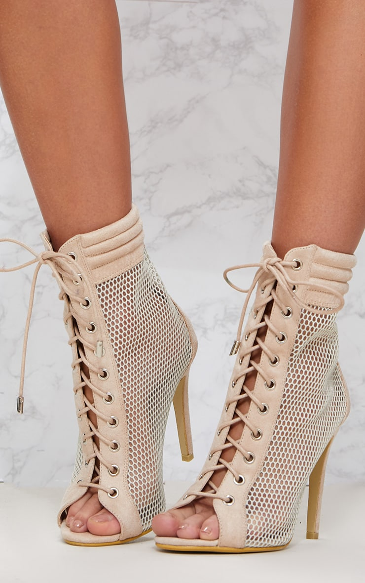 Beige Lace Up Mesh Peep Toe Boot 2