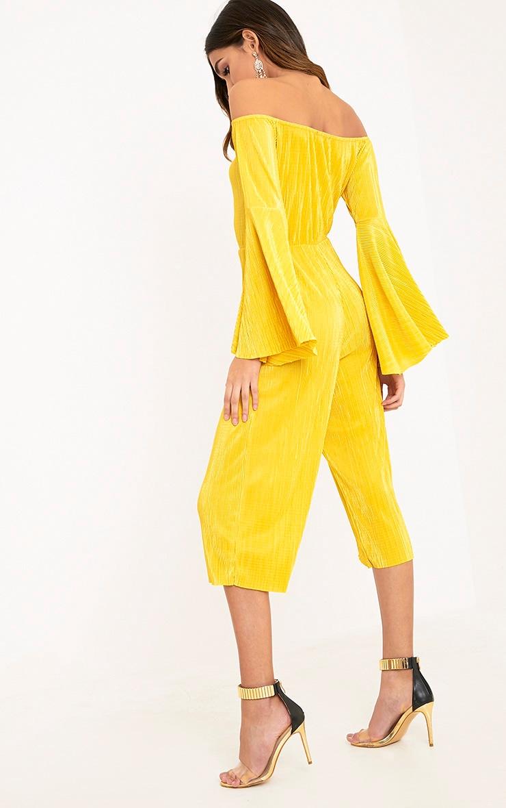 Delilah Mustard Bardot Flare Sleeve Jumpsuit  2