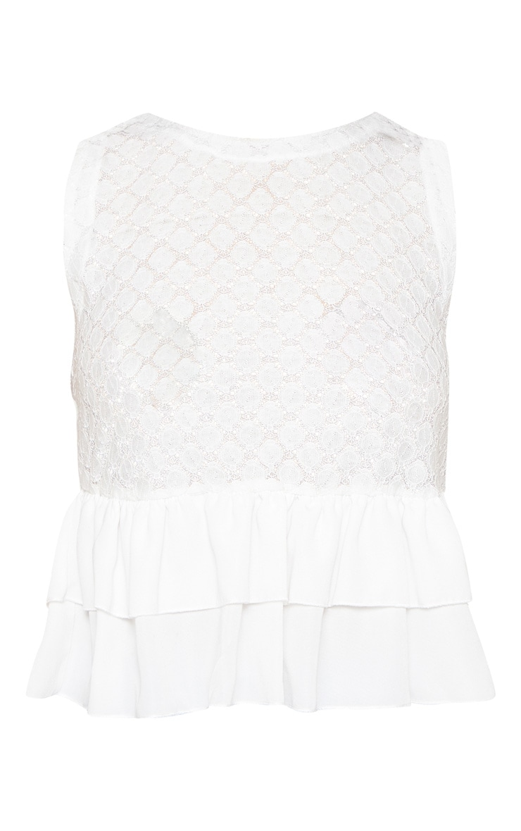 White Crochet Lace Frill Hem Vest 3