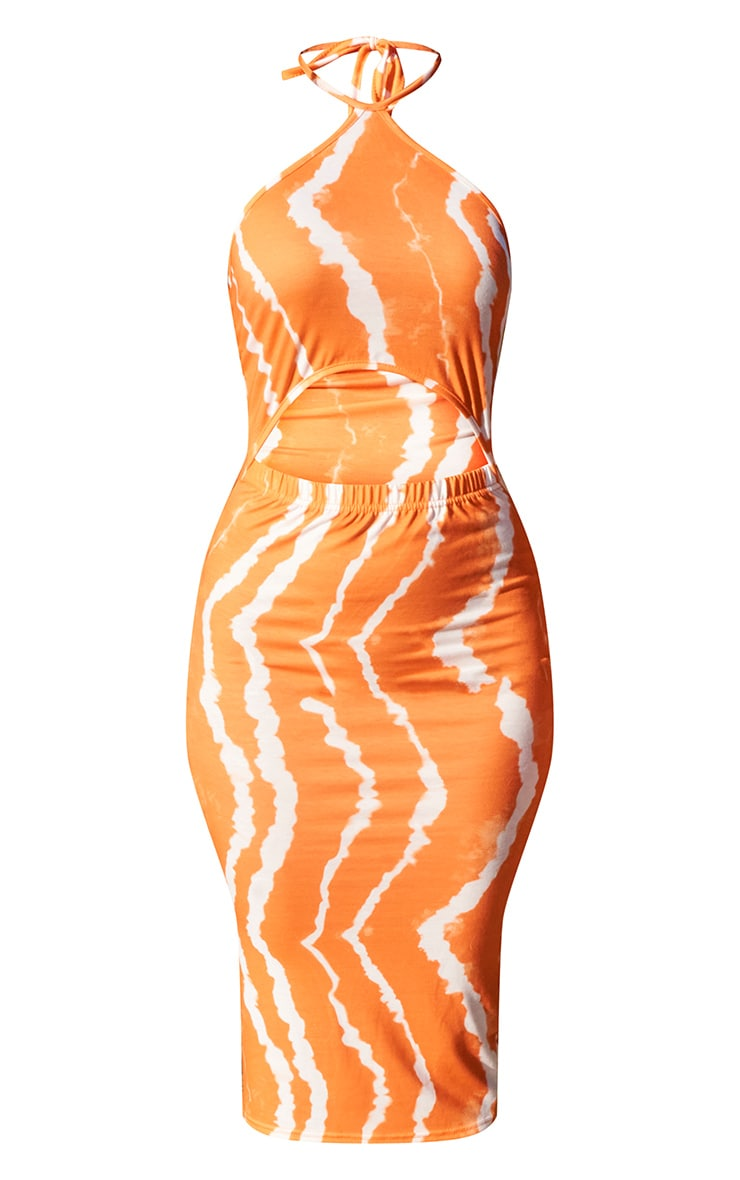 Orange Tie Dye Halterneck Cut Out Midi Dress 5