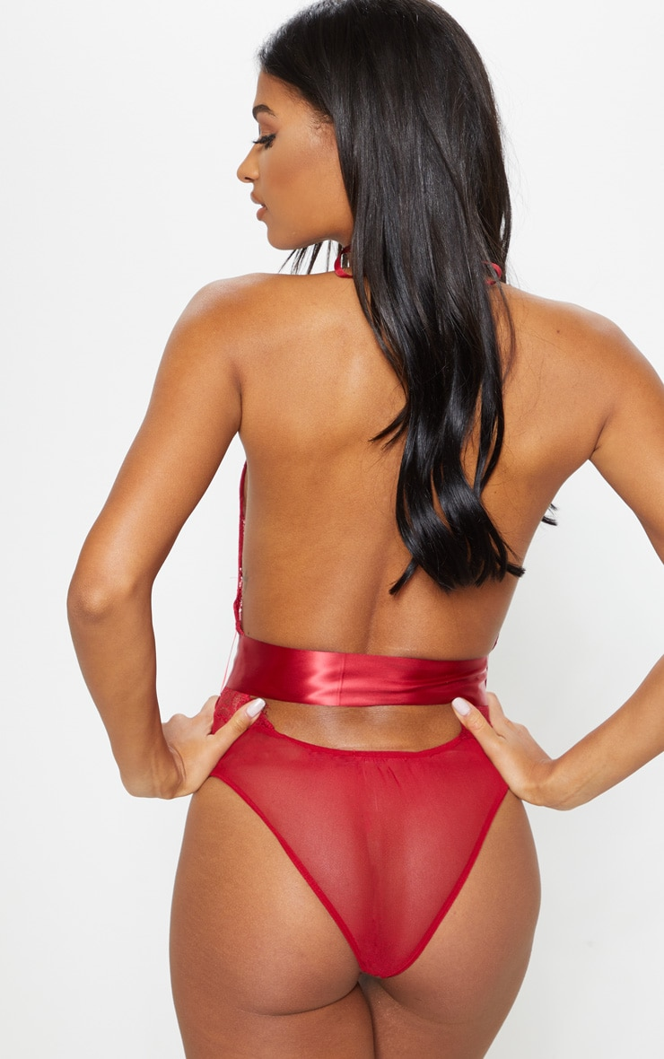 Red Lace Tie Waist Body 3