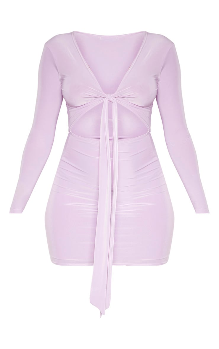 Lilac Slinky Plunge Tie Front Cut Out Bodycon Dress 3