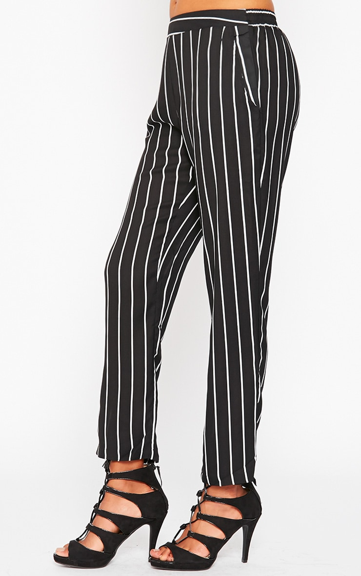 Ariela Black Stripe Trousers 3
