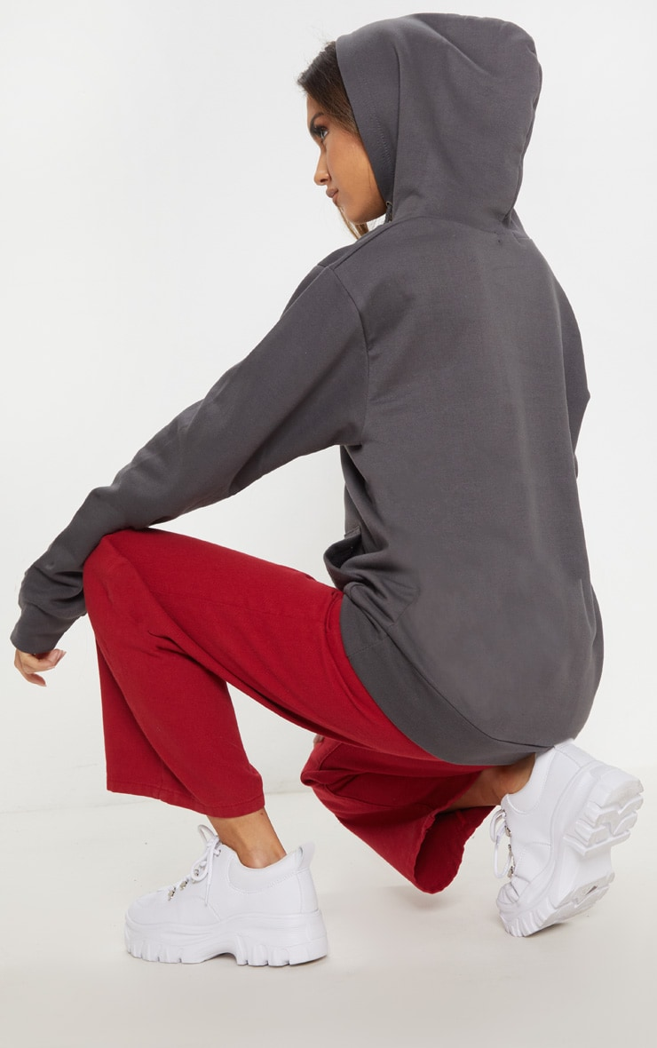 Charcoal Grey Space Print Oversized Hoodie 2