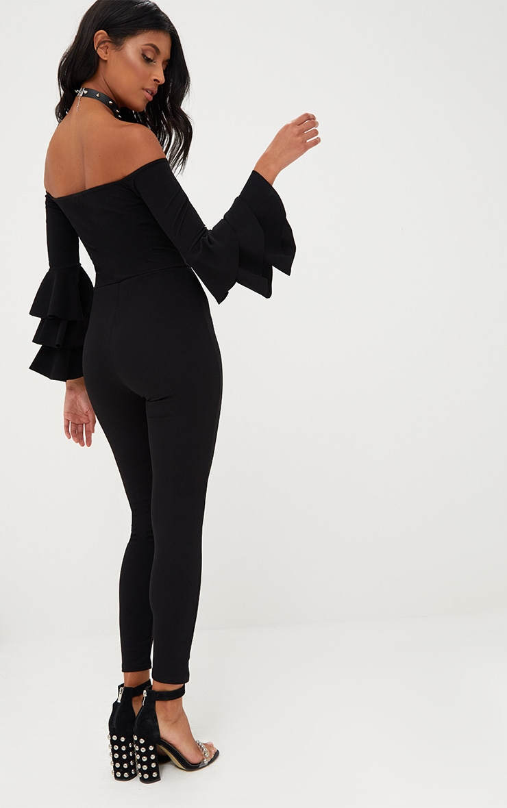 Black Ruffle Layer Sleeve Jumpsuit 2