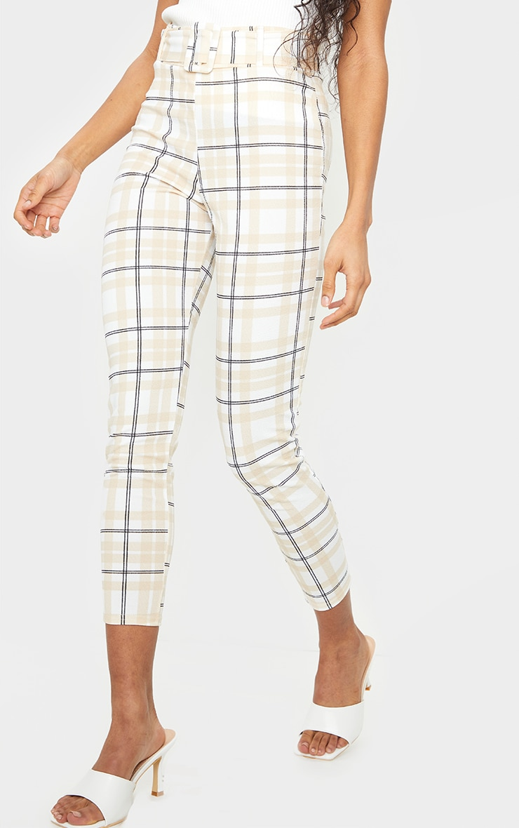 White Check Belted Skinny Pants 2