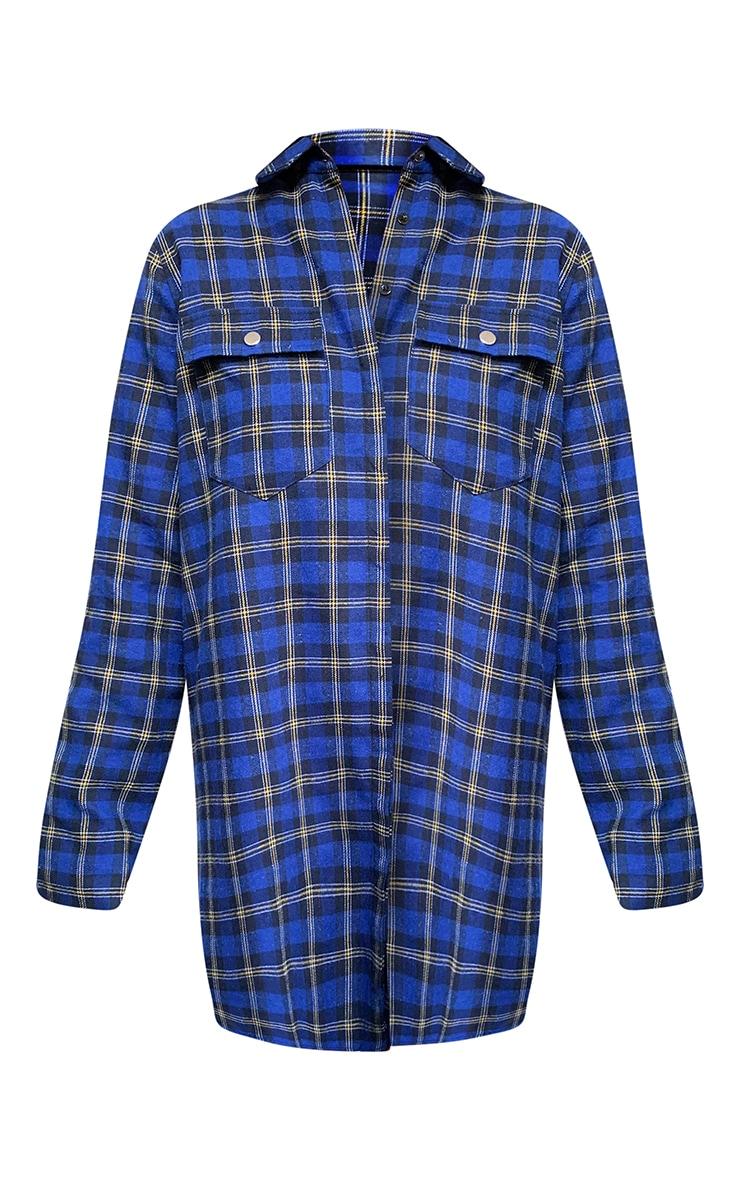 Navy Oversized Check Shirt Dress 5