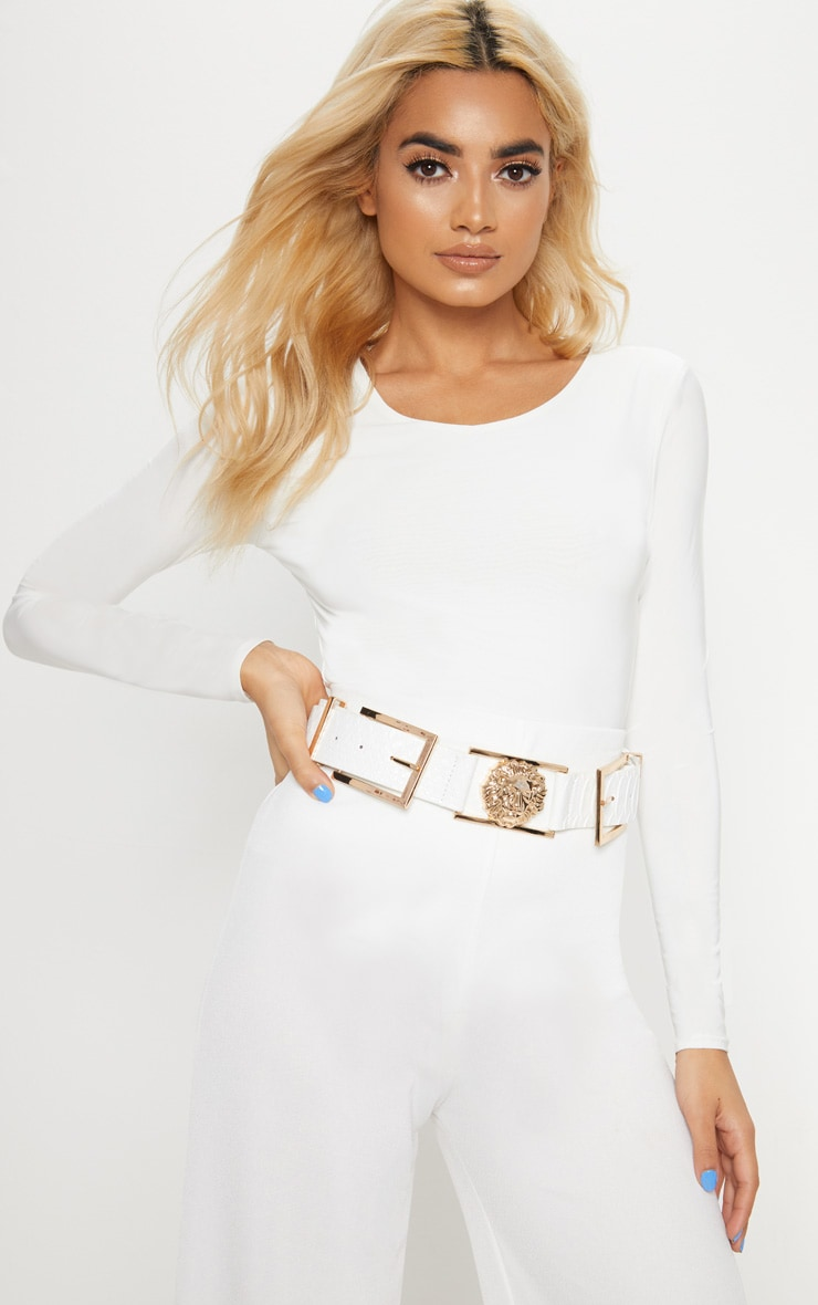 White Croc Lion Buckle Detail Belt 1