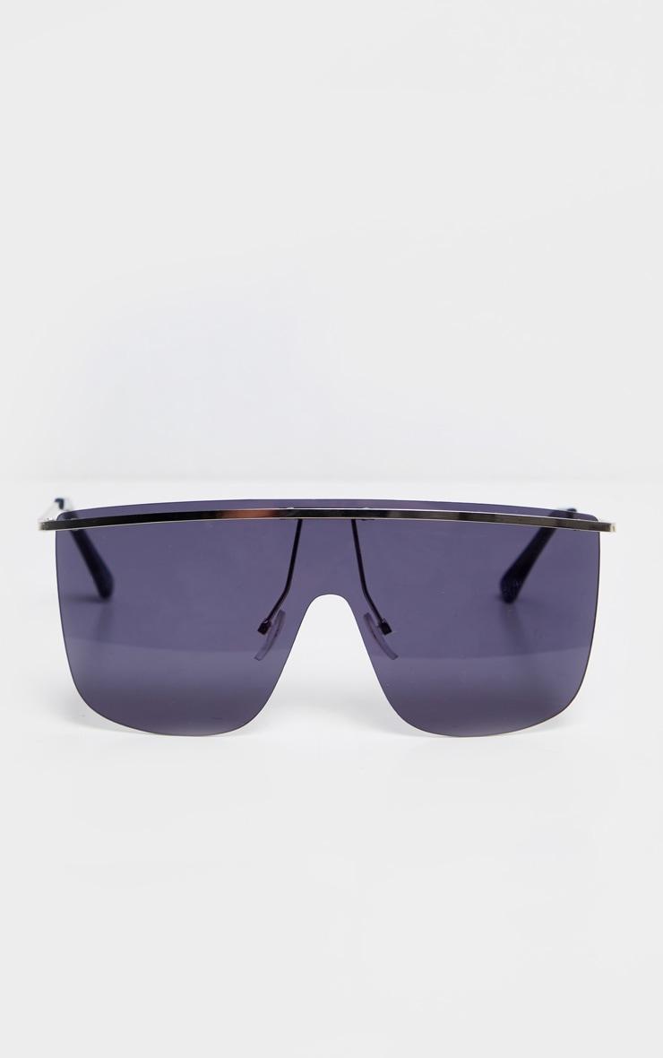 Black Tinted Silver Brow Bar Sunglasses 2