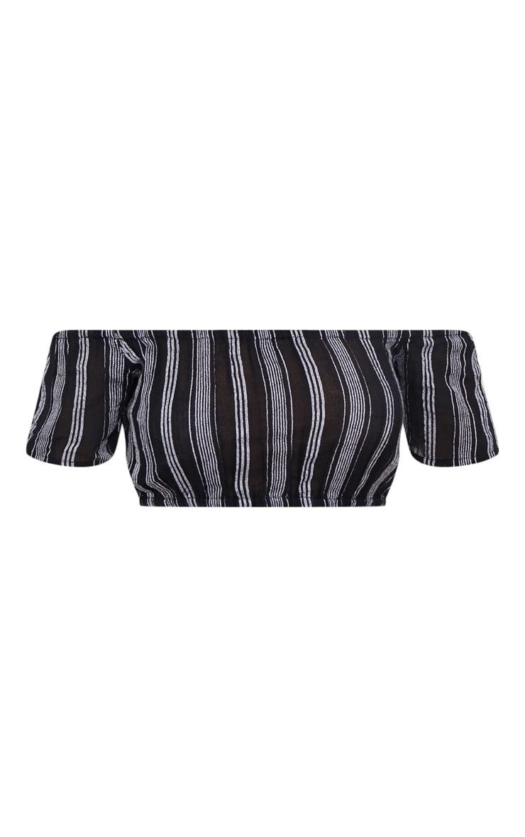Black Bardot Textured Stripe Crop Top 3