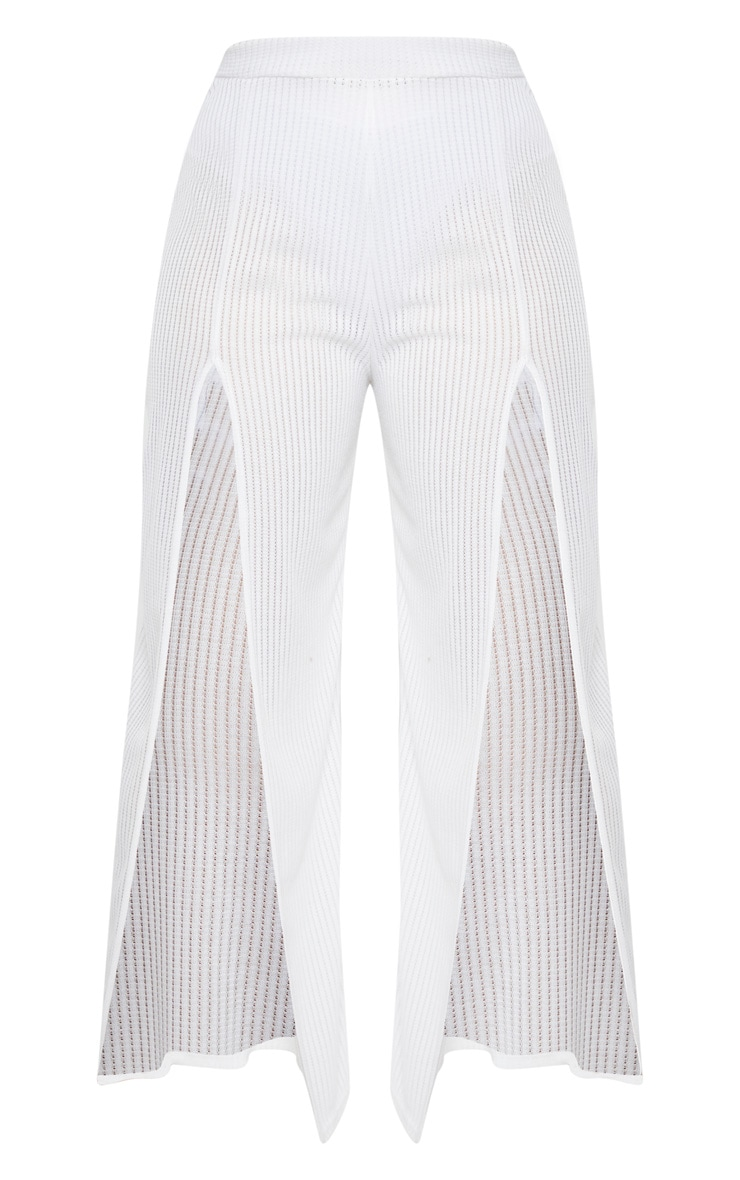 Plus White Textured Split Detail Wide Leg Pant 3