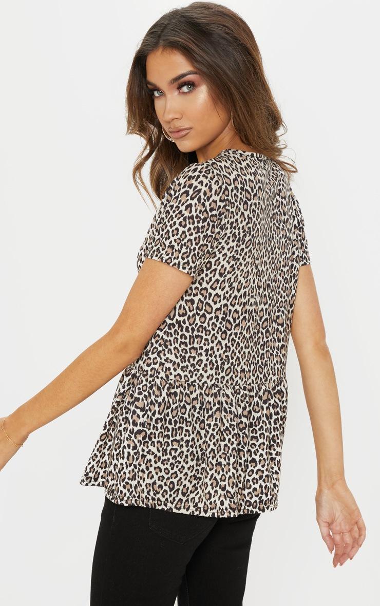 Tan Leopard Print Frill Peplum Top 2