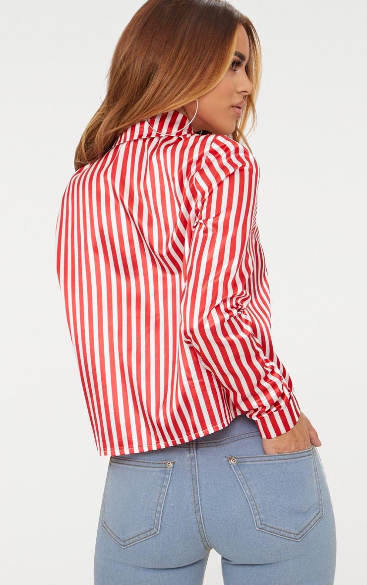 Petite Red Satin Stripe Cropped Shirt 2