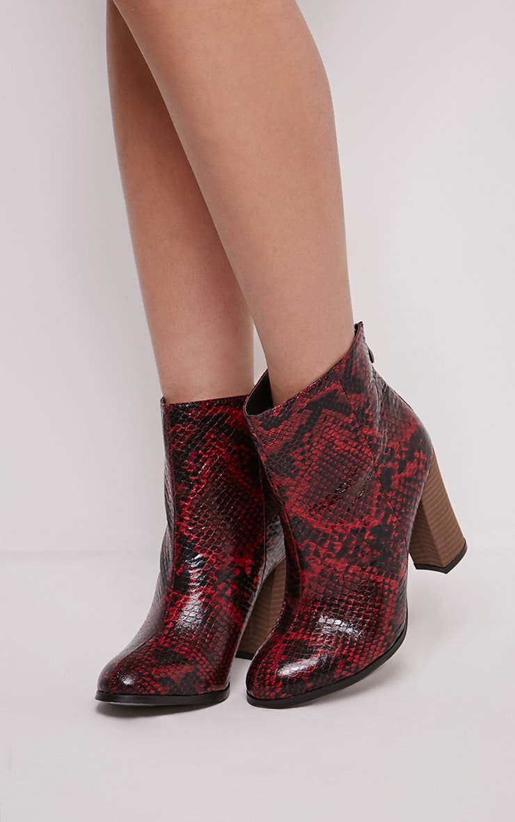 Becci Red Snakeprint Ankle Boots 1