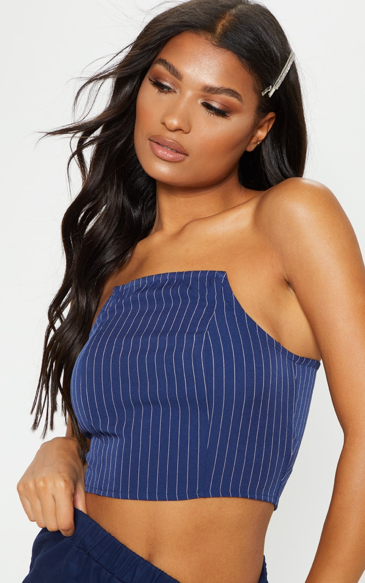 Navy Pinstripe Bandeau Crop Top 5