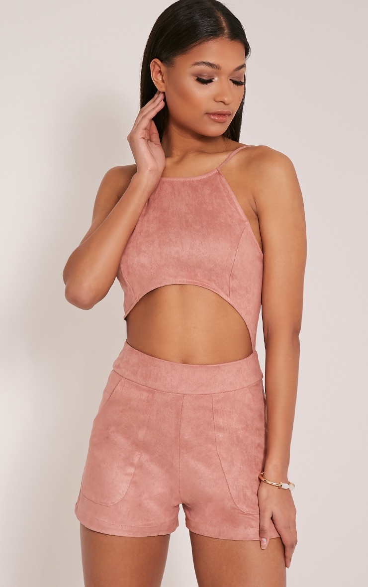 Adia Rose Suede Cut Out Playsuit 1