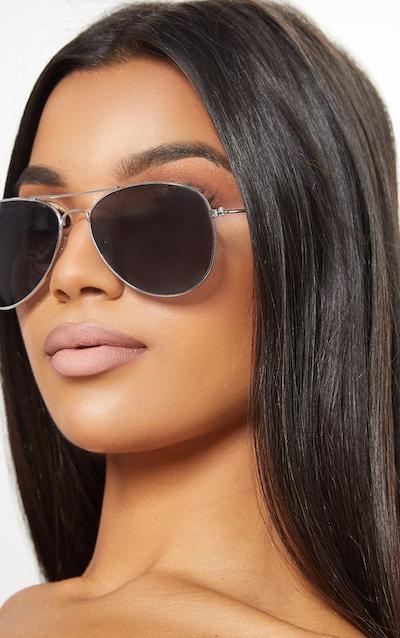 Silver Metal Aviator Sunglasses
