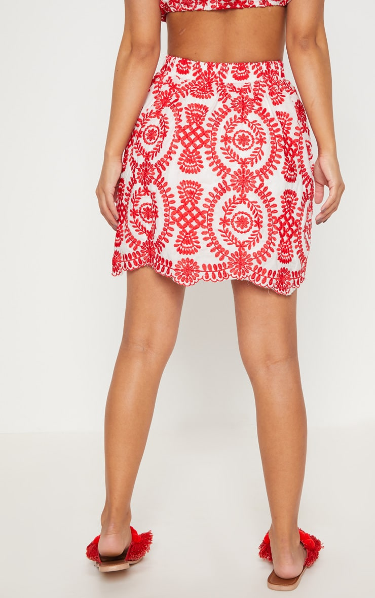 Petite Red Embroidered Mini Skirt 4