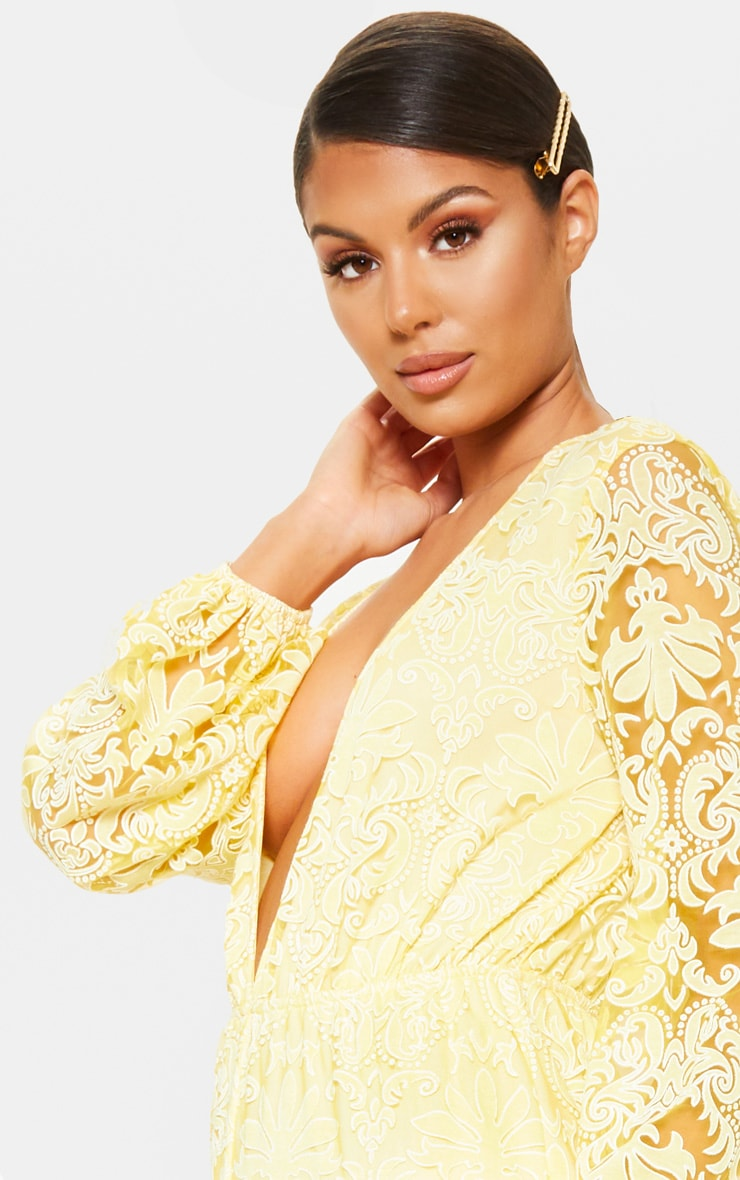 Lemon Sheer Paisley Long Sleeve Jumpsuit 4