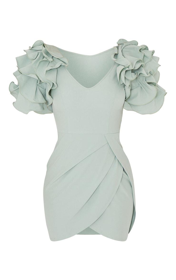 Sage Green Frill Sleeve V Neck Bodycon Dress 5