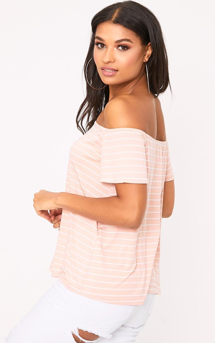 Pink Stripe Bardot Top 2