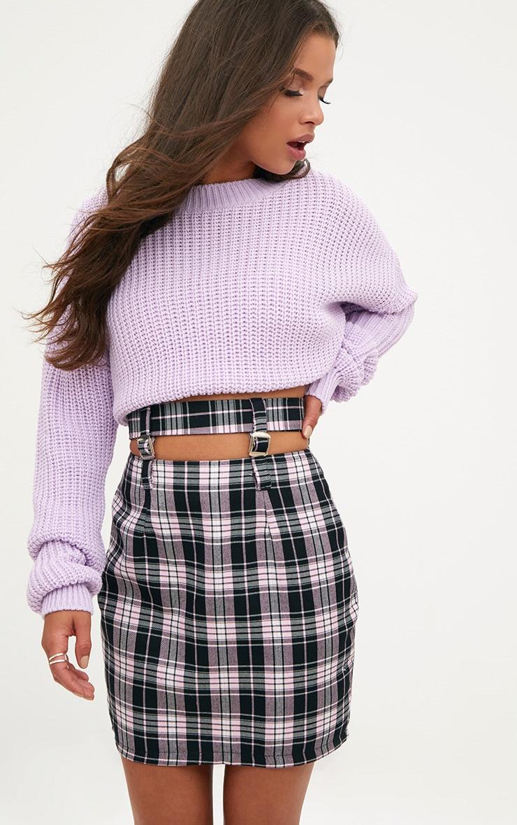 Pink Check Buckle Waist Mini Skirt 1