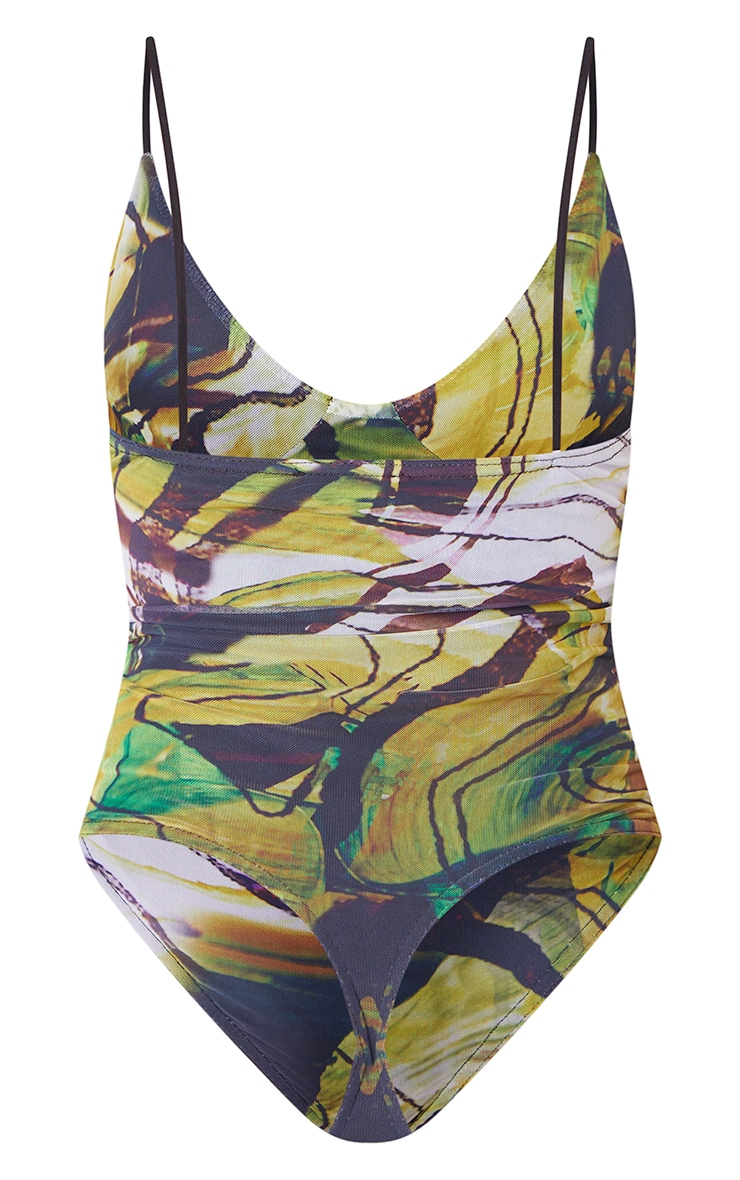 Lime Mesh Abstract Swirl Mesh Cup Detail Bodysuit 6