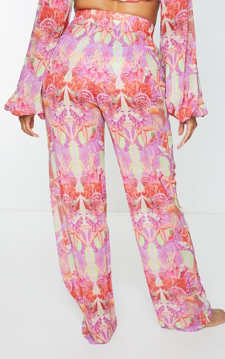 Pantalon de plage ample lilas imprimé 3