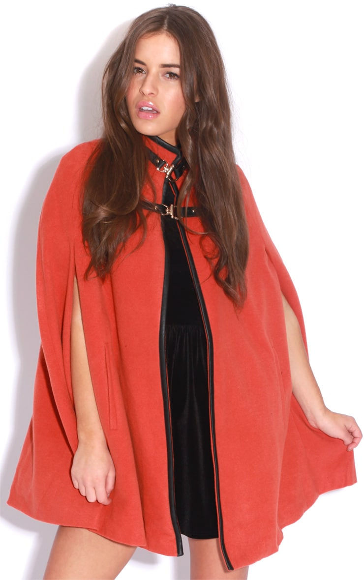 Renata Orange Buckle Cape Coat 1