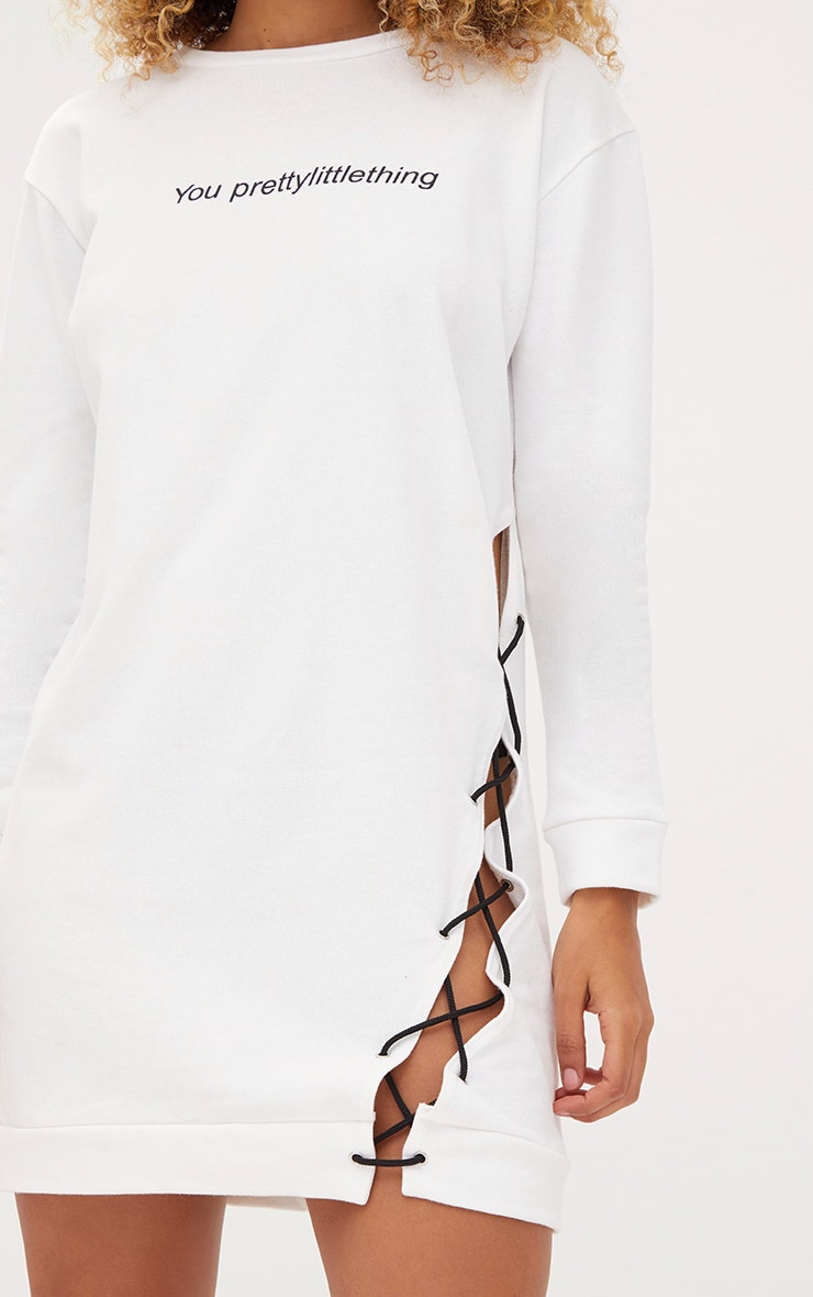 PRETTYLITTLETHING White Lace Up Sweater Dress 5