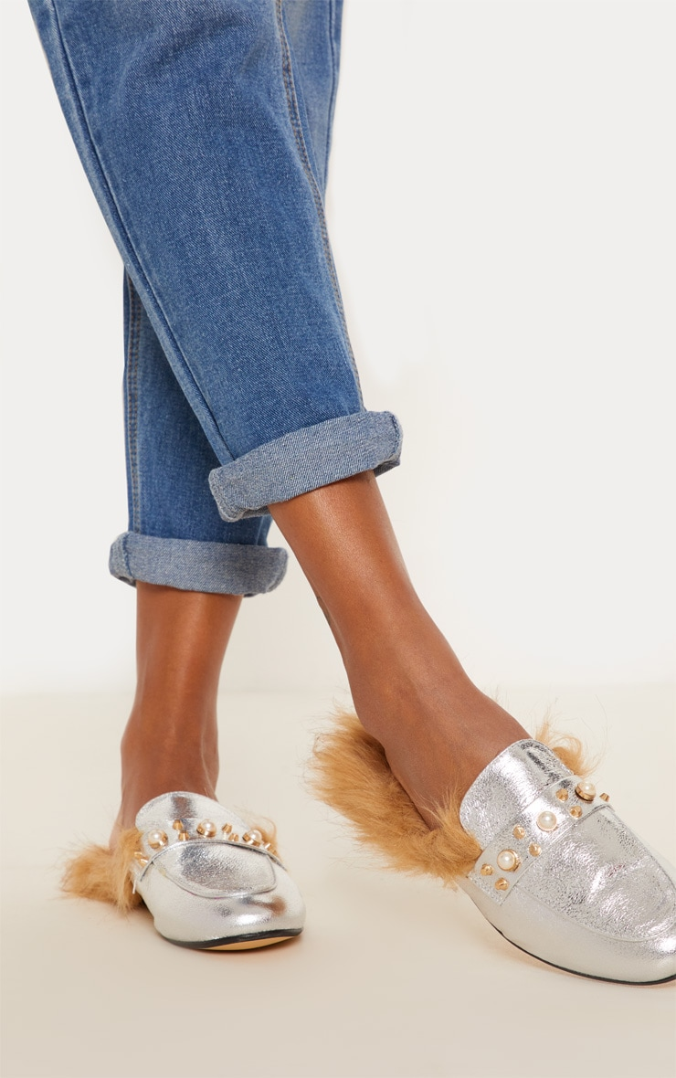 Silver Pearl Studded Mules  1
