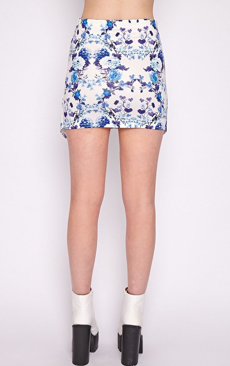 Effie Blue Floral Asymmetric Skirt  2