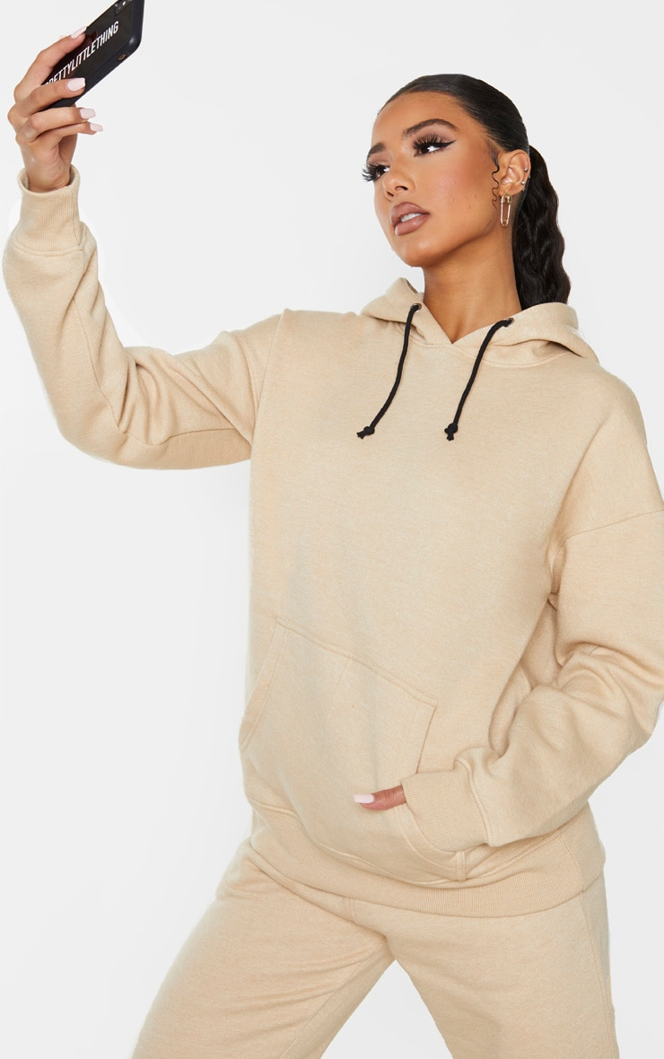 PRETTYLITTLETHING Stone Slogan Oversized Pocket Hoodie 1