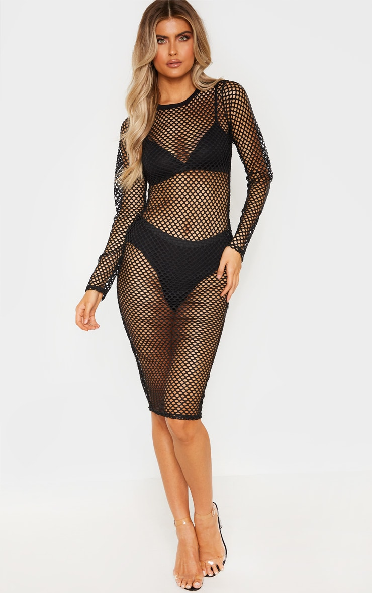 Tall Black Fishnet Mesh Long Sleeve Midi Dress 5