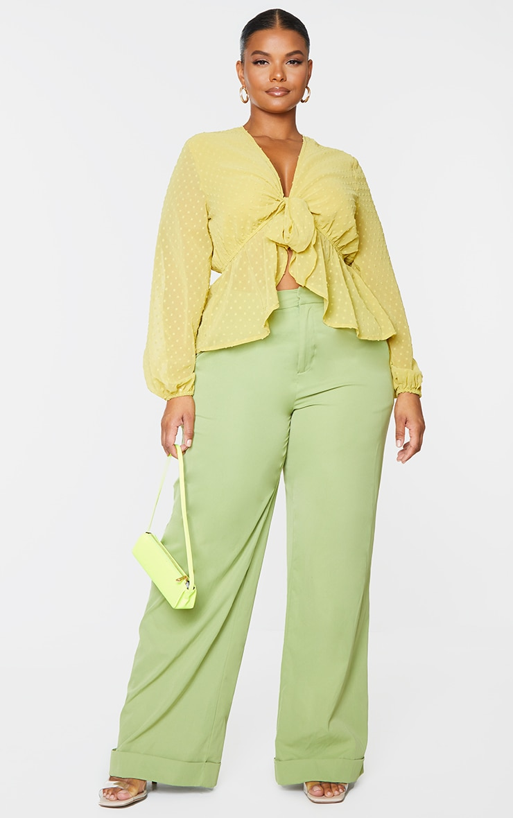 Plus Olive Dobby Mesh Tie Front Blouse 1