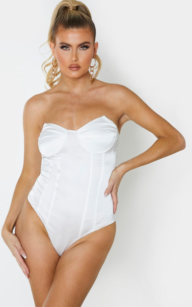 Tall White Satin Corset Bodysuit 2